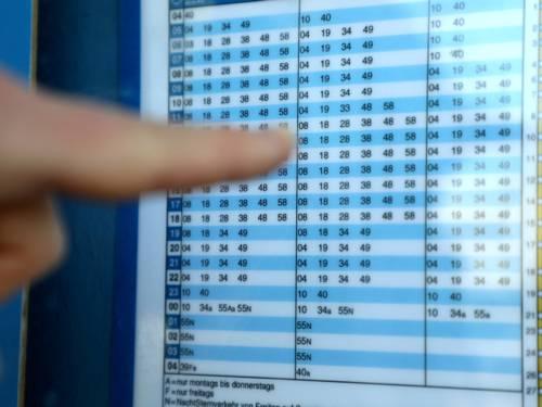 Ein Finger zeigt auf einen fahrplan
