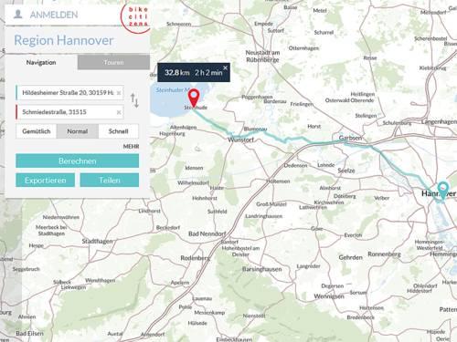 Screenshot einer Fahrradapp