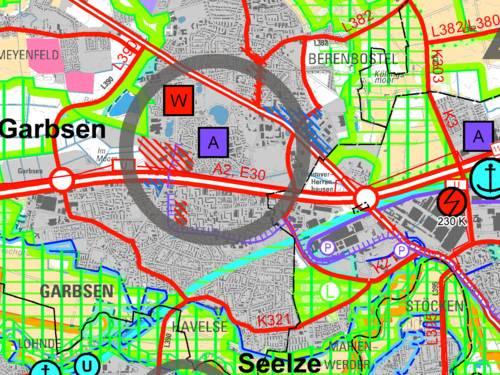 Kartenausschnitt farblich hervorgehobenen Bereichen