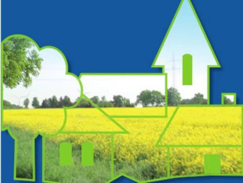 Symbolische Dorfzeichnung mit Rapsfeld