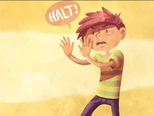 """Zeichnung eines Jungen der """"Halt"""" ruft und eine Abwehrhaltung einnimmt."""