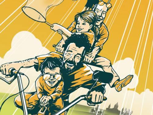 Illustration: Männer und Kinder fliegen mit einem Bonanzarad über die Insel Wilhelmstein im Steinhuder Meer, im Hintergrund sind eine Nana, Schloss Marienburg und Hannovers Neues Rathaus zu erkennen.