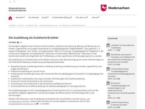 Vorschau auf die Seite Die Ausbildung als Erzieherin/Erzieher auf mk.niedersachsen.de