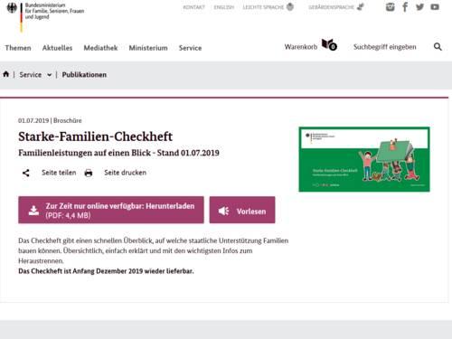 """Vorschau auf den Download """"Starke-Familien-Checkheft"""" auf www.bmfsfj.de"""