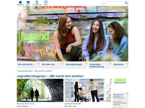 Vorschau auf www.jugendberufsagentur-hannover.de, die Hompage der Jugendberufsagenturen in der Region Hannover.