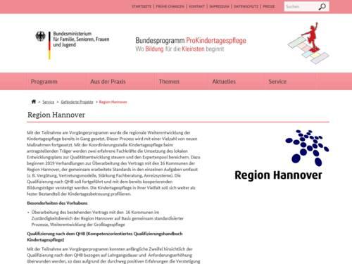 Vorschau auf die Seite mit Infos zur Region Hannover im Bundesprogramm ProKindertagespflege des Bundesministeriums für Familie, Senioren, Frauen und Jugend (BMSFSJ).