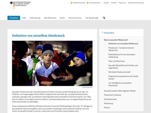 """Vorschau: auf die Unterseite """"Definition von sexuellem Missbrauch """" auf www.beauftragter-missbrauch.de"""