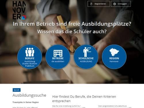 Vorschau auf das Ausbildungsportal, das über die Domain www.azubi21.de aufgerufen wird.