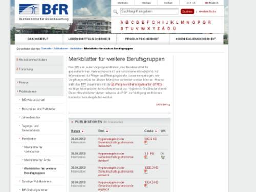 Vorschau auf die Webseite des Bundesinstutes für Risikobewertungen mit Merkblättern für die Gemeinschaftsgastronomie.
