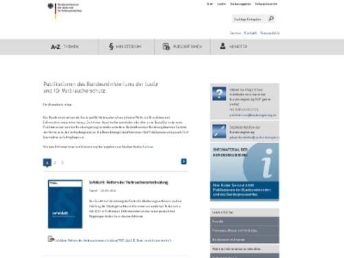 """Vorschau auf die Internetseite bmjv.de, Bereich """"Publikationen des Bundesministeriums der Justizund für Verbraucherschutz"""""""