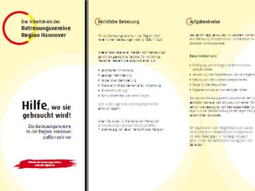 """Vorschau auf den Flyer """"Hilfe, wo sie gebraucht wird! Die Betreuungsvereine in der Region Hannover stellen sich vor."""""""