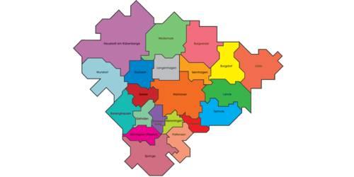 Die Karte zeigt das Gebiet der Region Hannover, das Gebiet jeder Kommune hat eine eigene Farbe.