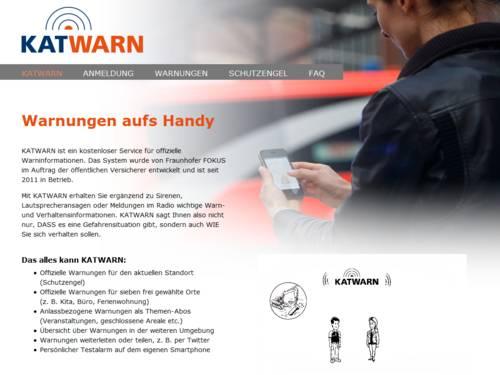 Vorschau auf katwarn.de/anmeldung