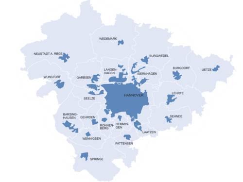 Zur Region Hannover gehören die Landeshauptstadt Niedersachsens, Hannover und die Umlandkommunen Barsinghausen, Burgdorf, Burgwedel, Garbsen, Gehrden, Hemmingen, Isernhagen, Laatzen, Langenhagen, Lehrte, Neustadt, Pattensen, Ronnenberg, Seelze, Sehnde, Springe, Uetze, Wedemark, Wennigsen und Wunstorf.