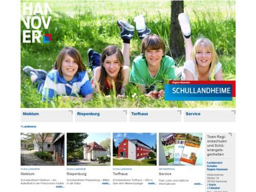 Vorschau auf den Internetauftritt www.landheime.de mit Informationen zu den Schuallandheimen der Region Hannover: Schullandheim Nieblum auf der Nordsee-Insel Föhr, Schullandheim Riepenburg bei Hameln und Schullandheim Torfhaus im Harz.