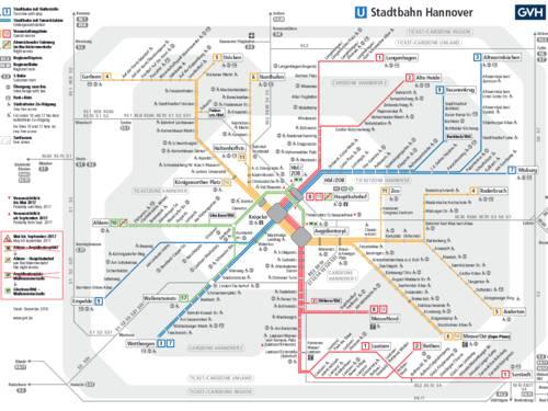 Linien der Stadtbahn Hannover