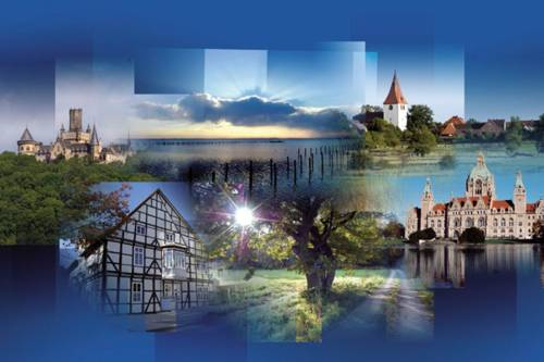 Ein Bild mit blauem Hintergrund, auf dem mehrer kleine Bilder von Gebäuden in der Region Hannover, wie zum Beispiel das Neue Rathaus in Hannover, zeigt.