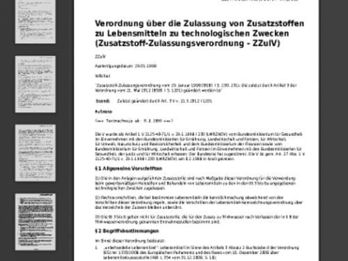 Vorschau auf die Verordnung über die Zulassung von Zusatzstoffen zu Lebensmitteln zu technologischen Zwecken (Zusatzstoff-Zulassungsverordnung - ZZulV) auf www.gesetze-im-internet.de.