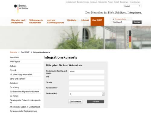 Vorschau auf die Suche nach Integrationskursorten auf bamf.de