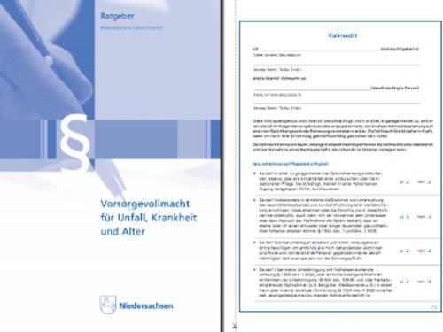 """Vorschau auf die Broschüre """"Vorsorgevollmacht für Unfall, Krankheit und Alter"""" des Niedersächsischen Justizministeriums. Das Bild zeigt das Titelblatt der Broschüre und die erste Seite eines Formulars, mit dem eine Vollmacht erteilt werden kann."""