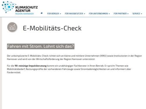 Internetseite der Klimaschutzagentur Region Hannover