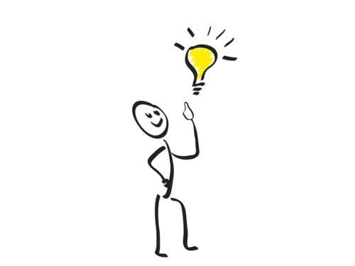 Grafik mit einem Strichmännchen und einer gelben Glühbirne.