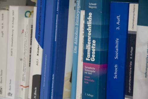 In einem Bücherregal stehen verschiedene Bücher zu Sozialgesetzen und Sozialrecht.