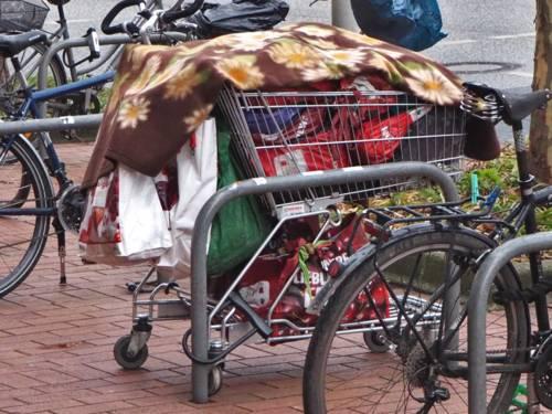 Ein Einkaufswagen mit Habseligkeiten parkt zwischen Zweirädern an einem Fahrradabstellbügel.