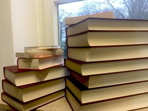 Zwei Bücherstapel in einer Fensterbank