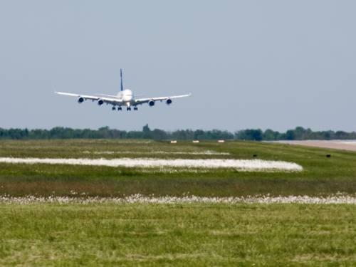 Ein Flugzeug hat Fahrwerk und Landeklappen ausgefahren und fliegt auf die Landebahn zu.