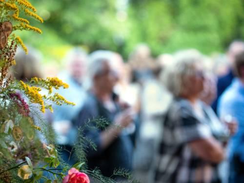 Blick über die Blüten einer Pflanze hinweg auf Menschen, die eine Veranstaltung besuchen.