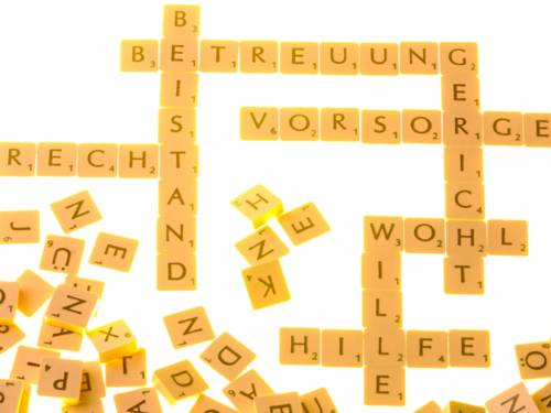 """Buchstabenbausteine bilden Worte wie """"Betreuung, Beistand, Vorsorge, Gericht, Wohl, Wille, Hilfe, Recht, weitere Buchstaben liegen daneben."""
