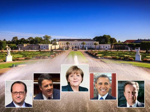 Visit Hannover - Obama_c_whitehouse.gov, Merkel_c_Dominik Butzmann, Cameron_Number 10 The Prime Minister's Office Open Government Licence, Hollande_c_COP Paris - Flickr.com, CC0, Renzi_c_Lizenz_CC BY-NC-SA 3.0 IT