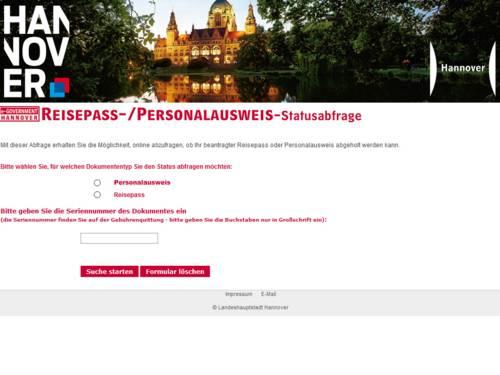 Internetanwendung Reisepass-/Personalausweis-Statusabfrage der Landeshauptstadt Hannover