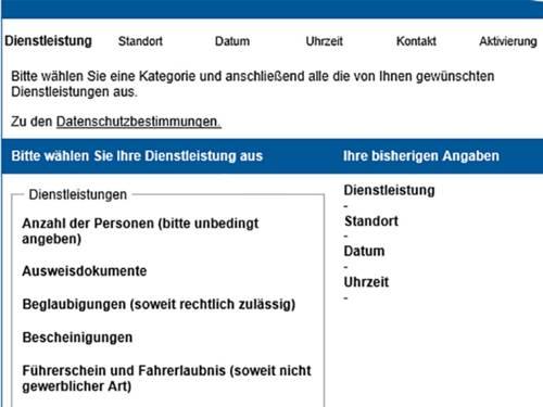 Bildschirmansicht des Online-Terminvergabemoduls mit verschiedenen Auswahlmöglichkeiten der angebotenen Bürgerämter-Dienstleistungen