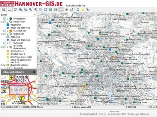 Screenshot des Geo-Informationssystems der Landeshauptstadt Hannover