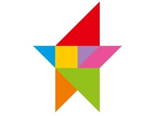 Ein Stern zusammengesetzt aus sieben verschiedenen Dreiecken und Quadraten in verschieden Größen und Farben. Diese sollen die 7 Regeln Symoblisieren.