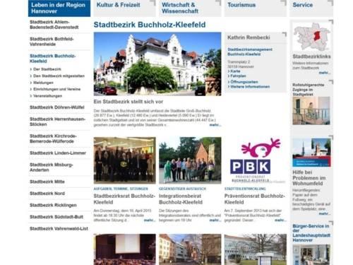Screenhot Stadtbezirkportal Buchholz-Kleefeld.