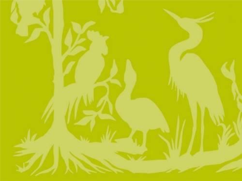 Auf dem Bild sind Umrisse von verschiedenen Vögeln und Bäumen zu sehen. Der Hintergrund ist grün/gelb.