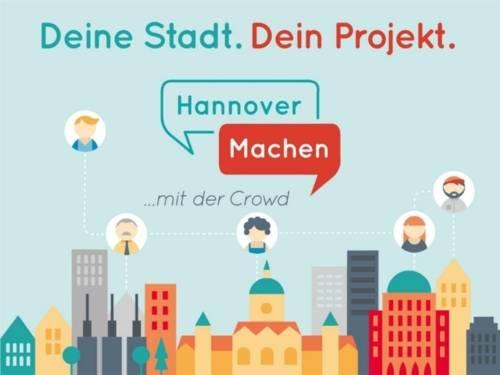 Auf dem Bild ist eine zeichnerische Darstellung der Innenstadt Hannovers zu sehen. Des Weiteren steht auf dem Bild: Deine Stadt. Dein Projekt – Hannover Machen (in Sprechblasen) mit der Crowd. Dazu sind noch fünf Menschengesichter zu sehen, die miteinander vernetzt sind.