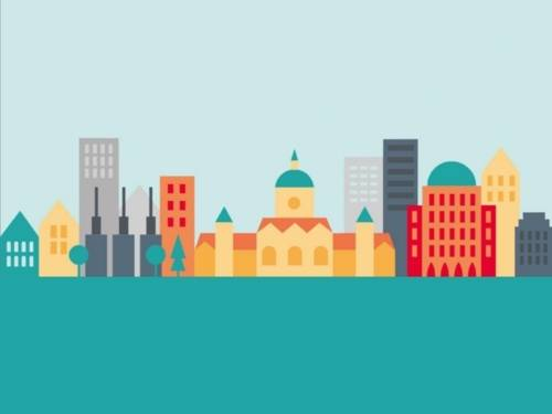 Auf dem Bild ist eine zeichnerische Darstellung der Innenstadt Hannovers zu sehen.