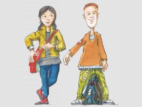 Zeichnung einer Schülerin und eines Schülers