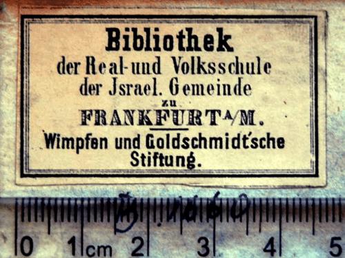 Etikett Bibliothek Real- und Volksschule Israelitische Gemeinde