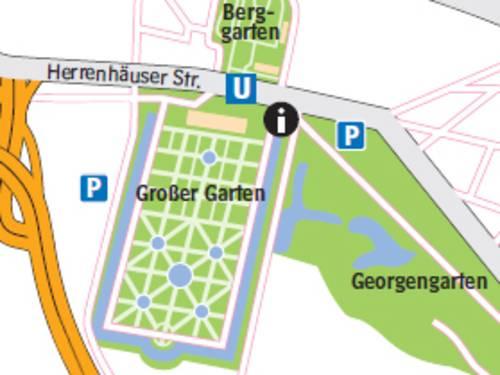Ein Ausschnitt der Umgebungskarte der Herrenhäuser Gärten
