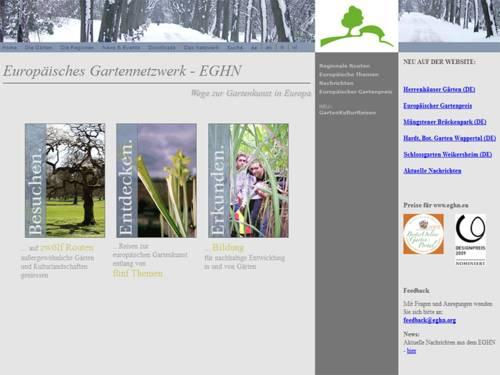 Die Homepage des Europäischen Gartennetzwerks