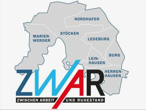 Die Umrisse der Stadtteile Marienwerder, Stöcken, Nordhafen, Ledeburg, Leinhausen, Burg und Herrenhausen. Darunter in Großbuchstaben das Logo ZWAR, was bedeutet: Zwischen Arbeit und Ruhestand.