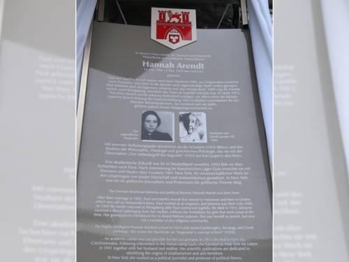 Die Stadttafel an Hannah Arendts Geburtshaus in Linden