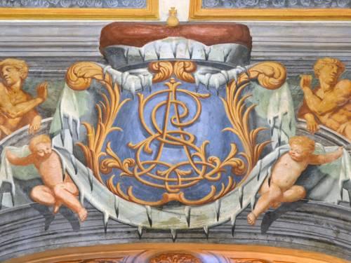Detail einer Freske im Festsaal des Galeriegebäudes, Ernst August Monogramm