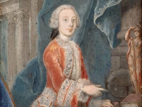 """""""Generalmajor von Wallmoden in jungen Jahren"""". ( Johann Ludwig von Wallmoden, 1736-1811), Miniaturporträt auf Elfenbein"""