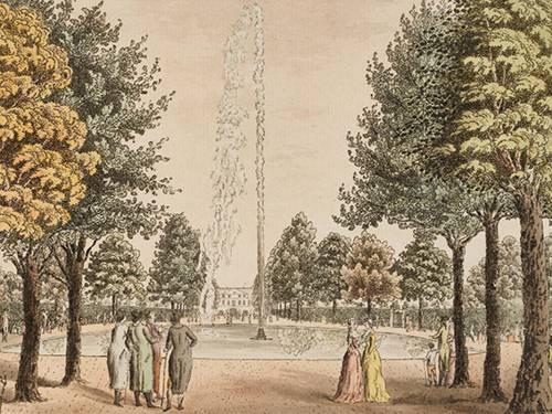 """""""Große Fontaine in Königl. Garten zu Herrenhausen"""", kolorierter Kupferstich von Salzenberg, vermutlich um 1800, Ausschnitt"""